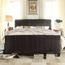 upholstered leather sleigh bed. Tufted Sleigh Bed With Some Dimentions And A Classy Color Design : Leather Upholstered