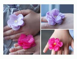 crepe paper flower rings whisk paper scissors