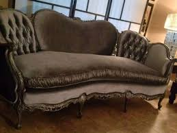 Details about Vintage Antique Victorian Silver Gray Sofa Regency 1800's  Re-Upholstered crystal