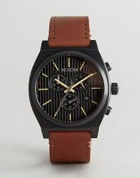men s chronograph watches chronograph watches asos nixon time teller chronograph leather watch in tan