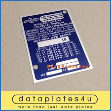 Details About Chevrolet Truck Info Data Plate Id Tag Vin Registration Door Post 95 Hp 177 Hp
