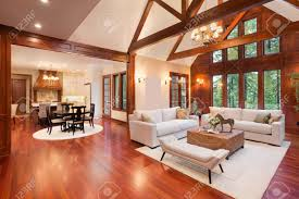 Vaulted Ceiling Living Room Beautiful And Huge Living Room With Hardwood Floors Tall Vaulted