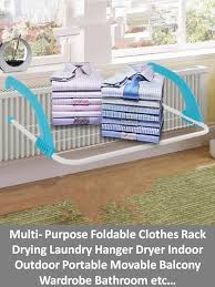multi purpose folding clothes rack drying laundry hanger dryer indoor outdoor portable movable balcony wardrobe