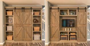 Rustic Entertainment Center With Sliding Barn Doors Open The For An And  Close Them A56