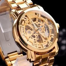 2013 gold watch mens skeleton mechanical fashion luxury watch 001
