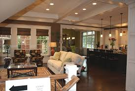 Living Room  Interesting Open Living Room And Kitchen Designs - Dark brown kitchen cabinets