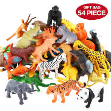 plastic zoo animals toys. Brilliant Plastic Amazoncom Animals Figure54 Piece Mini Jungle Toys SetValeforToy  Realistic Wild Vinyl Plastic Animal Learning Party Favors For Boys Girls  Intended Zoo A