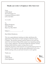 Thank You Letter To Employer After Interview 01 Best