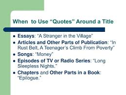 "ppt punctuating titles italics or ""quotes"" powerpoint  when to use ""quotes"" around a title"