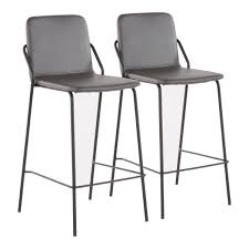 lumisource stefani industrial 25 in grey faux leather counter stool set of 2