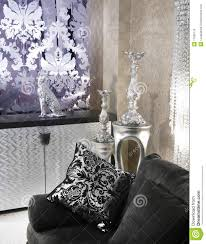 Living Room Black Sofa Living Room Coach Black Sofa Silver Furniture Royalty Free Stock