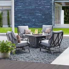 hton bay highland point 5 piece aluminum and steel patio fire pit conversation set with