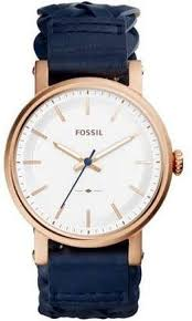 women s fossil rose gold blue leather strap watch es4182 loading zoom