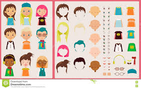 Design Your Character Cartoon Character Kit For Design And Illustration Stock
