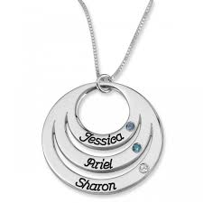 double thickness mother s triple name open disc birthstone necklace sterling silver diamond birthstone name necklaces classic name necklaces name