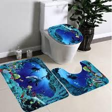 blue bathroom rug sets