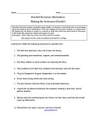 englishlinx com parallel structure worksheets sentence lesson ...