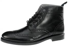 red tape glaven black leather lace up boots