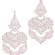 rose gold filigree crystal chandelier earrings