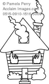Small Picture Art Illustration of a House on Fire Coloring Page