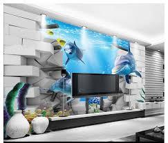 3d Behang Custom Photo Dolfijn Vis Onderwater Wereld Achtergrond