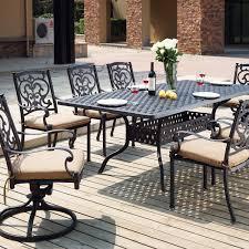 darlee santa barbara 9 piece cast aluminum patio dining set with rectangular table antique bronze