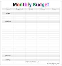 Simple Monthly Budget Template Texas Vet