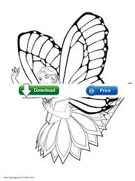 Free Barbie coloring pages to print. Mariposa
