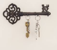 Decorative Wall Mounted Key Holder | Vintage Key With 3 Hooks | Wall  Mounted | Rustic