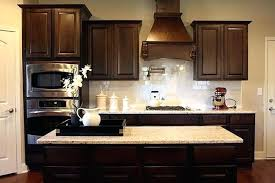 subway tile backsplash with cherry cabinets.  With Kitchen Tile Backsplash Ideas With Dark Cabinets White Subway  And Revere Cherry  For O