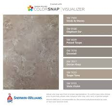 I found these colors with ColorSnap Visualizer for iPhone by  Sherwin-Williams: Sticks & Stones (SW Elephant Ear (SW Poised Taupe (SW  Dovetail (SW Dorian ...