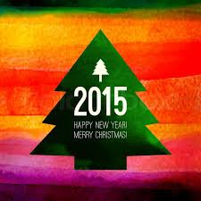 Merry Christmas Banner Print Christmas Tree Symbol Colorful Watercolor Painting With 2015 Label