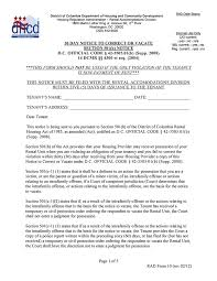 30 day eviction notice forms d c 30 day notice to correct or vacate rad form 10
