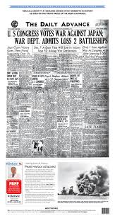 front pages through the years local news newsadvance com historic front pearl harbor