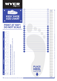 Kids Shoe Size Chart Printable Myer Kids Shoe Size Chart Printable Pdf Download