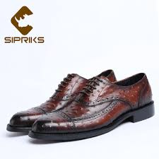 sipriks luxury mens real cow leather oxfords printed ostrich skin men shoes elegant black lace up brogue dress shoes hipster 44 mens sneakers high heels