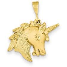 14k yellow gold unicorn head charm