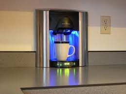 brew express plumbed coffee maker built in wall with kitchen countertop and  timer plus power button