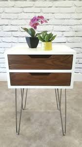 mid century modern night stand bedside table white end table walnut