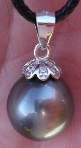 Pearl <b>Real</b> Tahitian Black-green Round <b>12mm</b> Austrian <b>925 Silver</b> ...