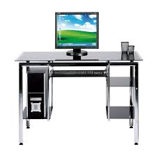 Modern Computer Desks Ideas With Black Tempered Glass And Lacquered Metal  Desk Keyboard Drawer Shelves ...