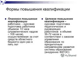 Презентация на тему Концепция развития института в условиях  10 Формы повышения квалификации
