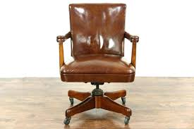 antique swivel office chair. Antique Solid Wood Office Chair Desk Oak Swivel Vintage Leather Retro . R