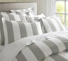 Grey and White Striped Bedding and Pillow