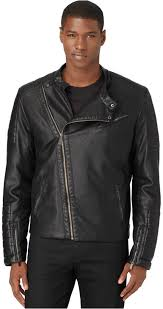 calvin klein black faux leather motorcycle jacket