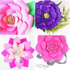 Paper Flower Template Pdf Set Of 4 Large Flower Templates Paper Flower Patterns Pdf And Svg