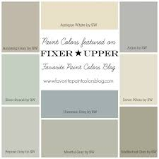 Paint colors featured on HGTV's Fixer Upper, complete with pictures of the  actual color.