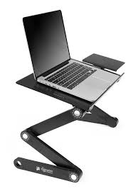 com executive office solutions portable adjule aluminum laptop desk stand table vented w cpu fans mouse pad side mount notebook macbook light