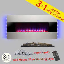 wall mount freestanding convertible electric fireplace heater in silver with pebbles