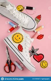 Custom Design Threads Sneakers Threads And Patches Stock Image Image Of Fine
